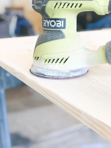 DIY Farmhouse Tabletop, Ryobi sander, smooth edges, Woodworking
