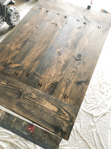 DIY Farmhouse Tabletop, Minwax Dark Walnut Stain, Wood Stain, Woodworking