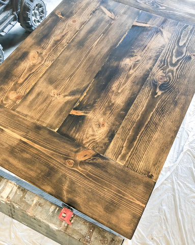 DIY Farmhouse Tabletop, Minwax Stain, Dark Walnut, Classic Gray