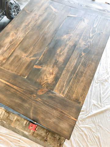 DIY Farmhouse Tabletop, Minwax Wood Stain, Minwax Dark Walnut, Minwax Classic Gray