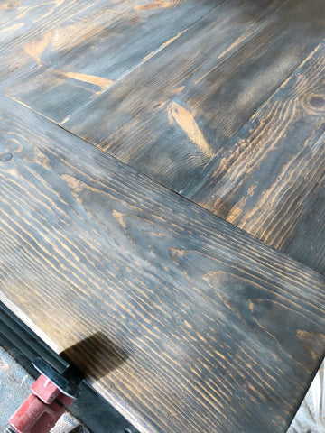 DIY Farmhouse Tabletop, Minwax Stain, Dark Walnut, Classic Gray, White