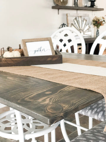 DIY Farmhouse Tabletop Close-up