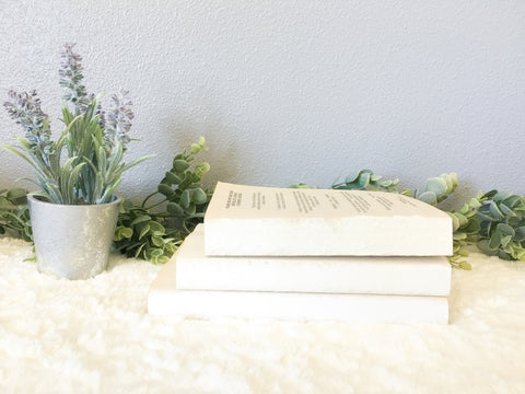 DIY Farmhouse Stamped Books, Stacked Books, Chalk Paint Books, Farmhouse Stacked Books