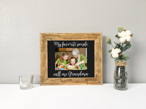 My Favorite People Call Me Grandma Personalized Photo Mat with Chestnut Stained Wood Picture Frame