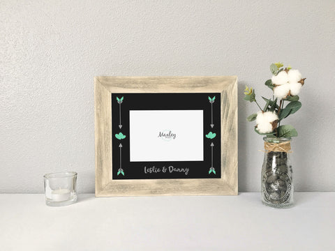 Valentine's Couples Names Arrows Hearts Photo Mat with Rustic Wood Picture Frame