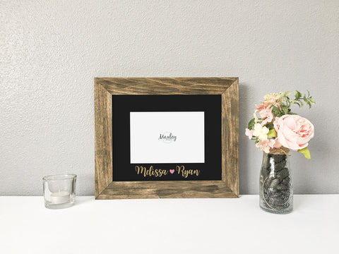 Valentine's Couples Names Photo Mat Brushed Gold with Rustic Barnwood Finish Picture Frame