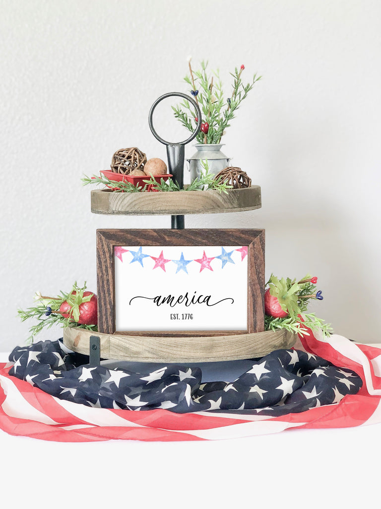 America Established 1776, farmhouse sign, wood sign, 4th of july decor, 4th of july farmhouse decor, tiered tray decor, 4th of july tiered tray decor