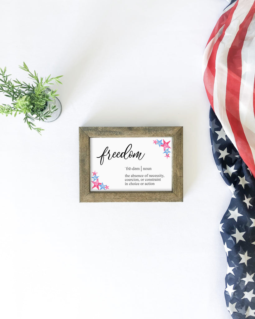 Freedom definition, farmhouse sign, wood sign, 4th of july decor, 4th of july farmhouse decor, tiered tray decor, 4th of july tiered tray decor