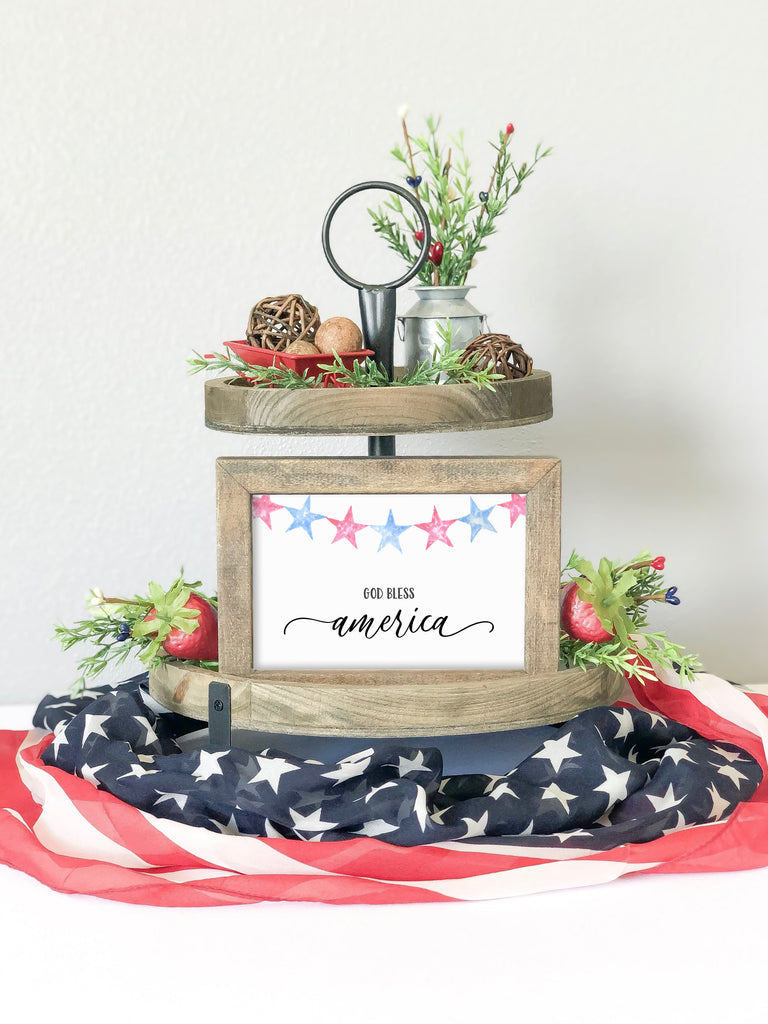 Skinny 4x6 God Bless America Farmhouse Sign, Landscape Frame