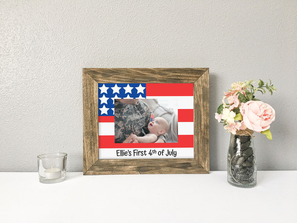 """Baby's First 4th of July"" with American Flag, Personalized White Photo Mat"