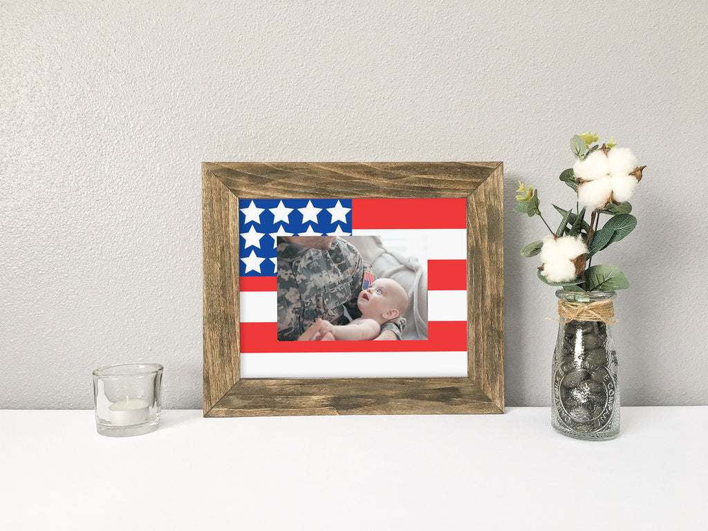 American Flag Photo Mat with Optional Barnwood Finish Picture Frame, 4th of July Picture Frame, Military Appreciation Gift, Military Retirement or Deployment Gift