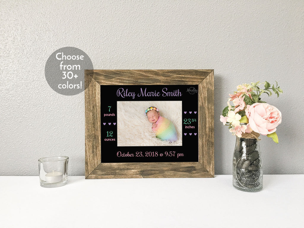 Elegant Baby Girl Birth Stats with Hearts, Personalized Black Photo Mat