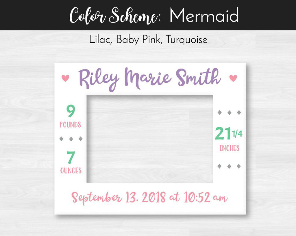 Personalized Baby Girl Birth Stats Announcement Photo Mat, Rustic Barnwood Finish Picture Frame, Baby Girl Stats, Nursery Decor, Rustic Baby Girl Nursery Decor, Mermaid Nursery, Mermaid First Birthday