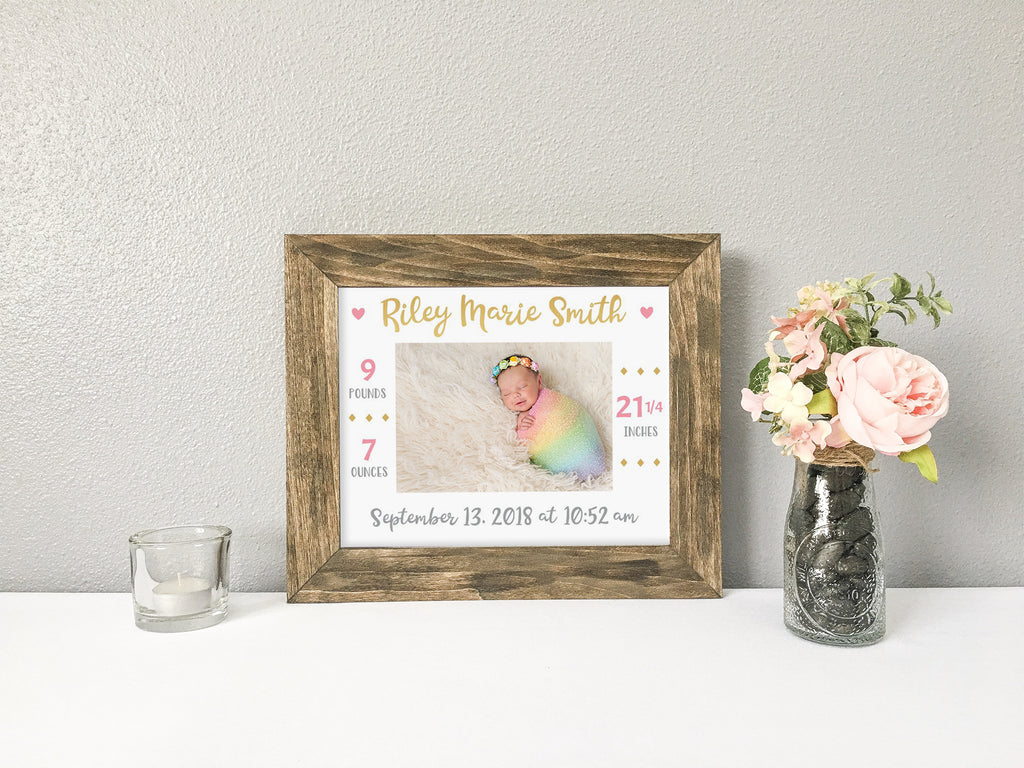 Personalized Baby Girl Birth Stats Announcement Photo Mat, Rustic Barnwood Finish Picture Frame, Baby Girl Stats, Nursery Decor, Rustic Baby Girl Nursery Decor