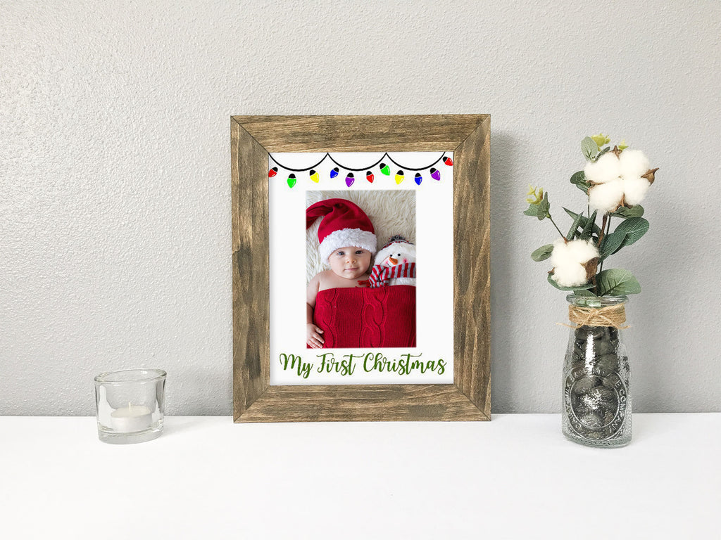 """My First Christmas"" with Christmas Lights, White Portrait Photo Mat"