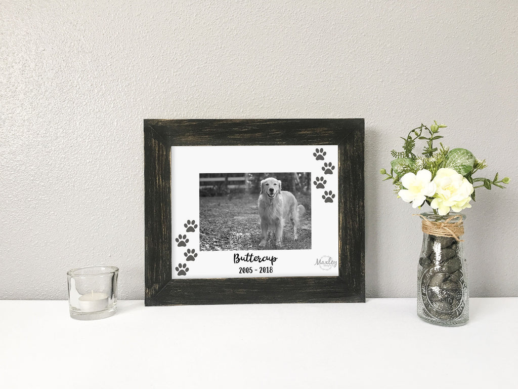 Dog Memorial with Paw Prints, Name, and Years Alive, Personalized White Photo Mat