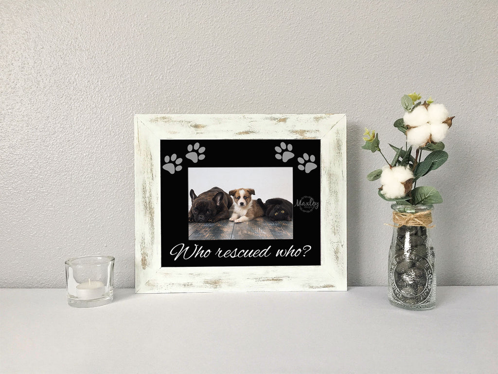 """Who Rescued Who?"" with Paw Prints, Black Photo Mat"