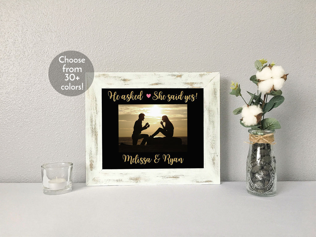 """He asked, She said yes!"" Engagement with Couples' Names, Personalized Black Photo Mat"