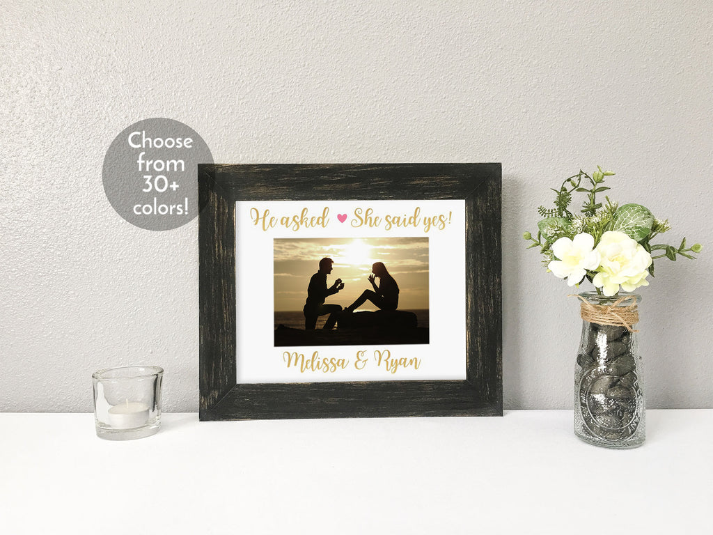"""He asked, She said yes!"" Engagement with Couples' Names, Personalized White Photo Mat"