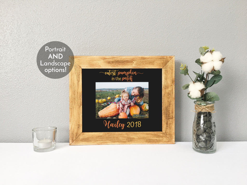 """Cutest Pumpkin in the Patch"" with Pumpkins, Personalized Black Photo Mat"