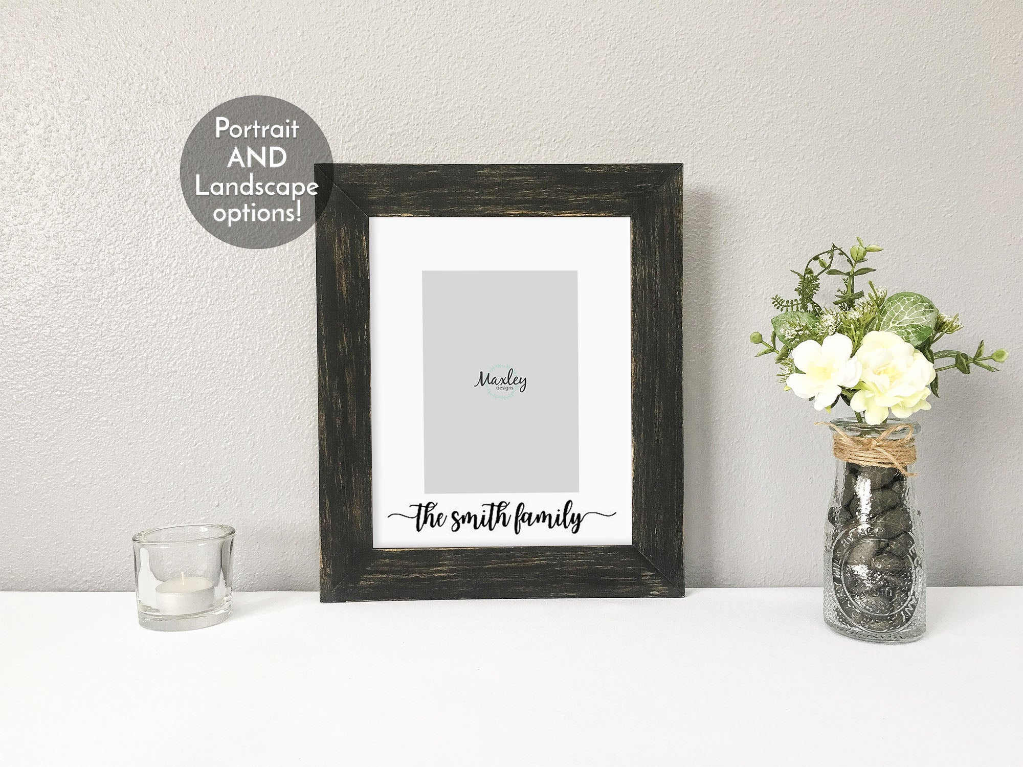 Family Last Name In Calligraphy Font White Photo Mat