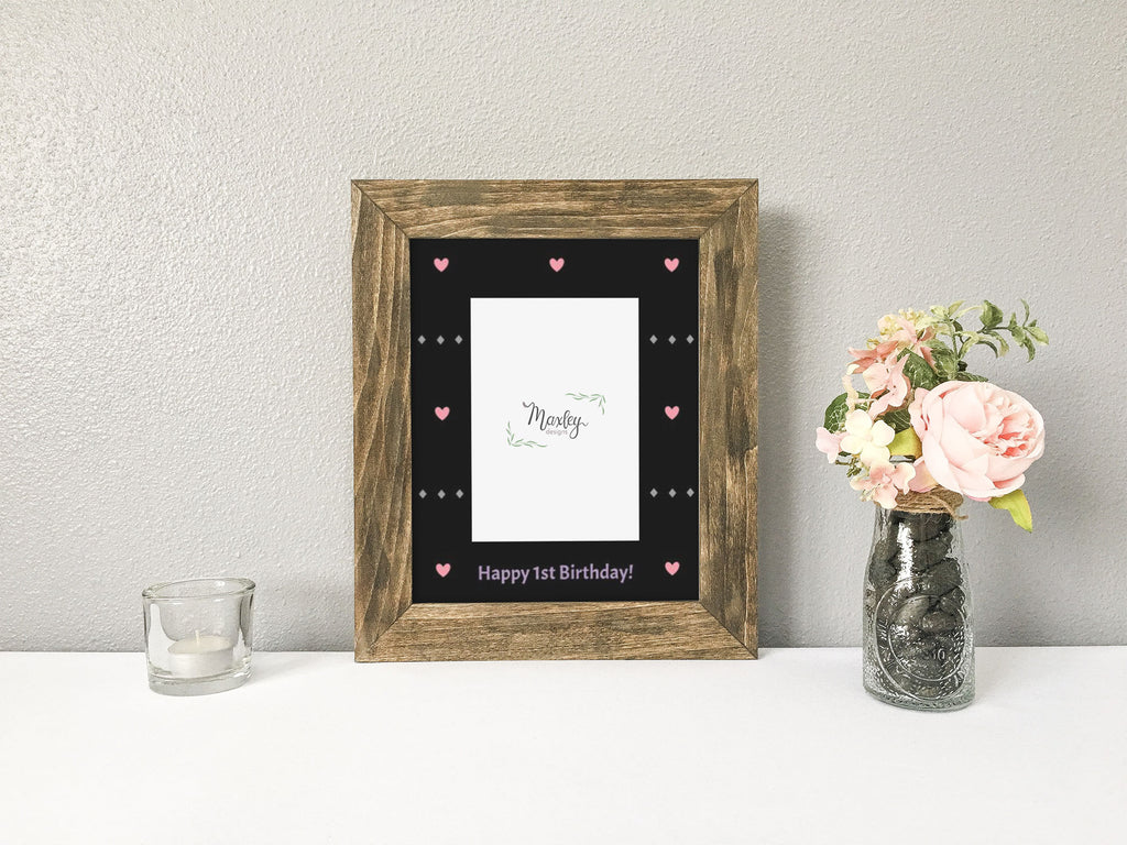 Chic Mermaid Girl First Birthday Photo Mat, Rustic Barnwood Finish Picture Frame, Mermaid Themed First Birthday, Girl First Birthday Gift