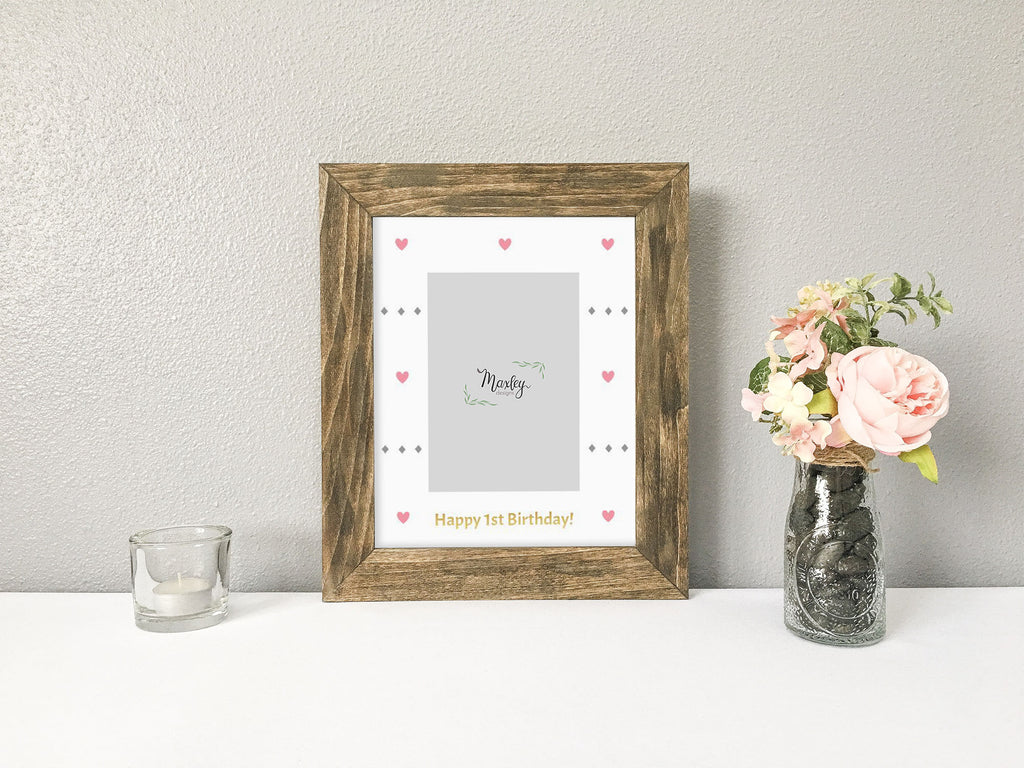 Chic Unicorn Pink and Gold Girl First Birthday Photo Mat, Rustic Barnwood Finish Picture Frame, Unicorn Themed First Birthday, Girl First Birthday Gift