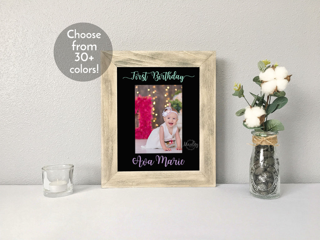 """First Birthday"" Personalized Girl's Name, Black Photo Mat"
