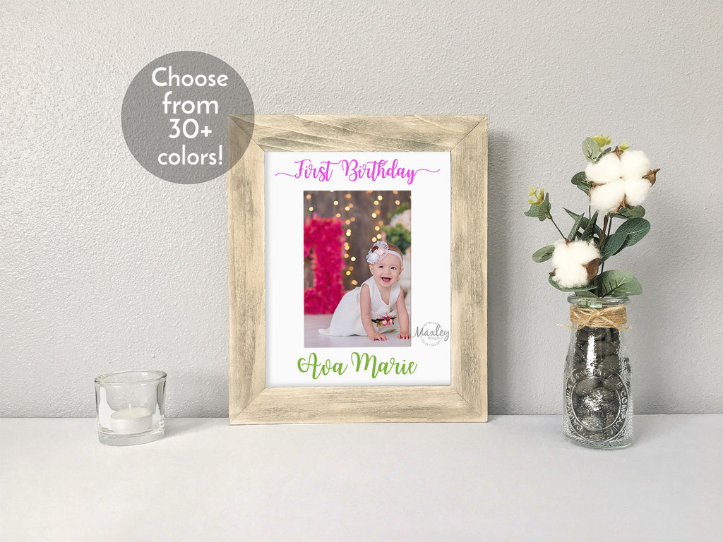 """First Birthday"" Personalized Girl's Name, White Photo Mat"