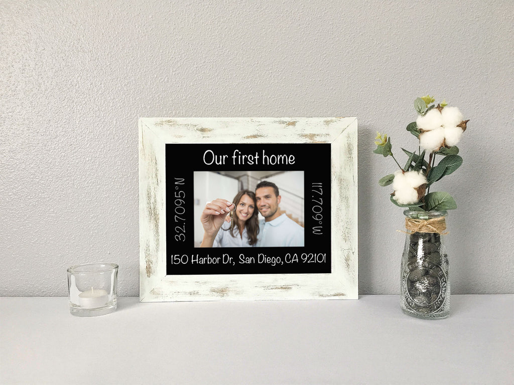 """Our First Home"" with Address and GPS Coordinates, Personalized Black Photo Mat"