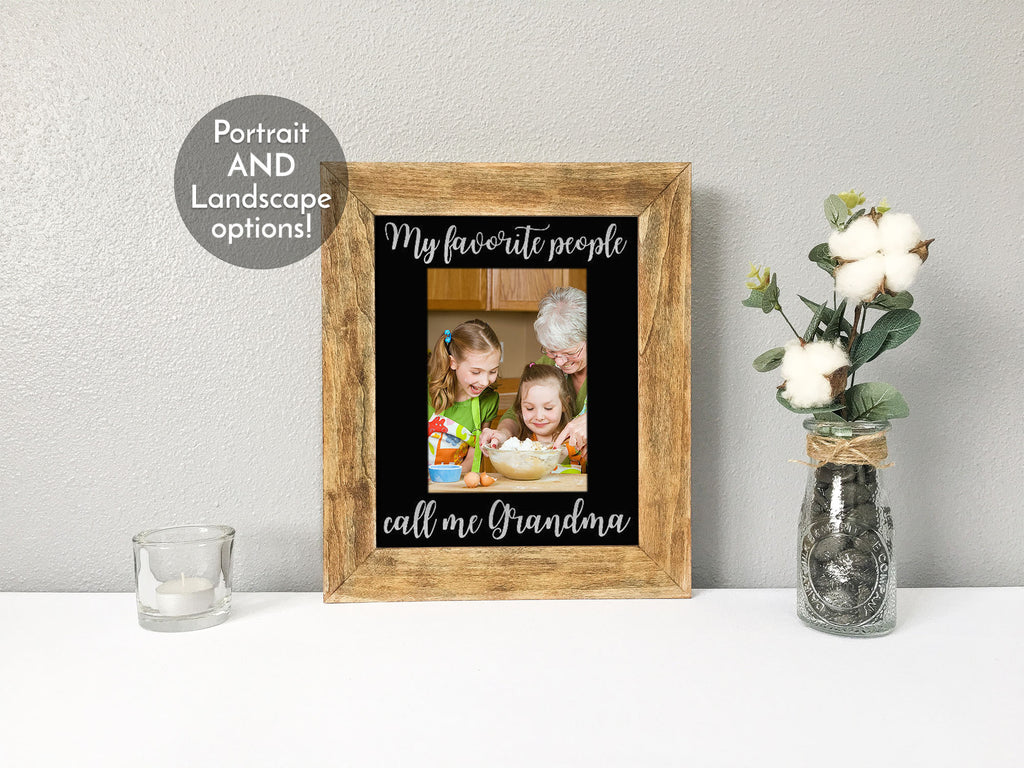 """My Favorite People Call Me Grandma"" Personalized Black Photo Mat"
