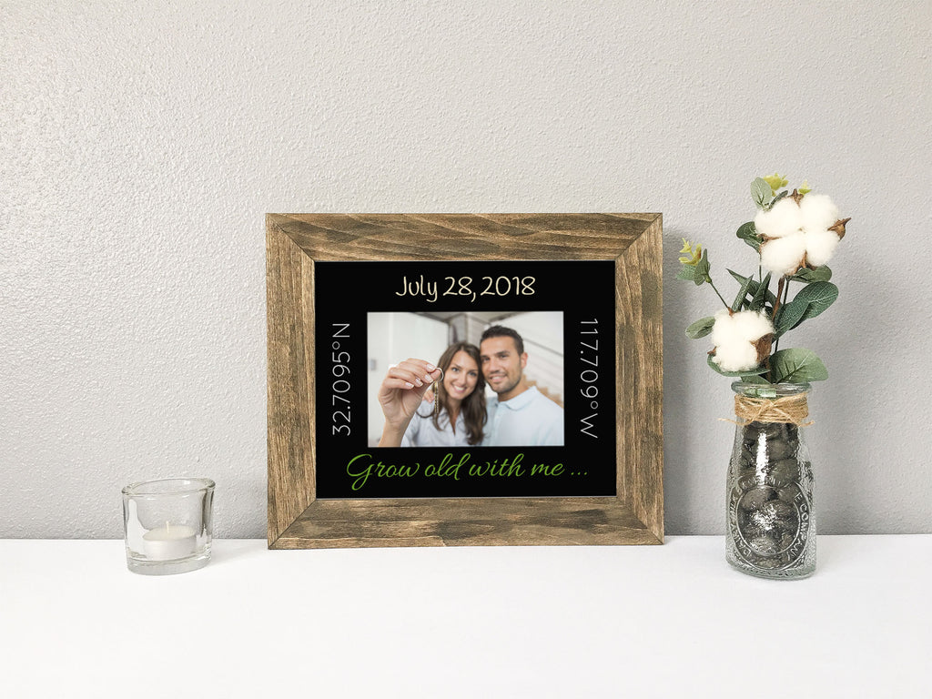 """Grow Old With Me"" New Home with GPS Coordinates and Date, Black Photo Mat"