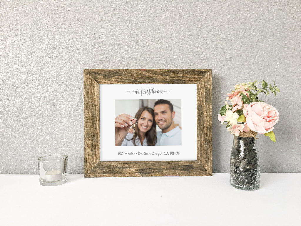Our First Home with Personalized Address White Photo Mat, Barnwood Finish Stained Wood Picture Frame, Farmhouse Decor, Housewarming Gift, Housewarming Gift for Farmhouse Lover
