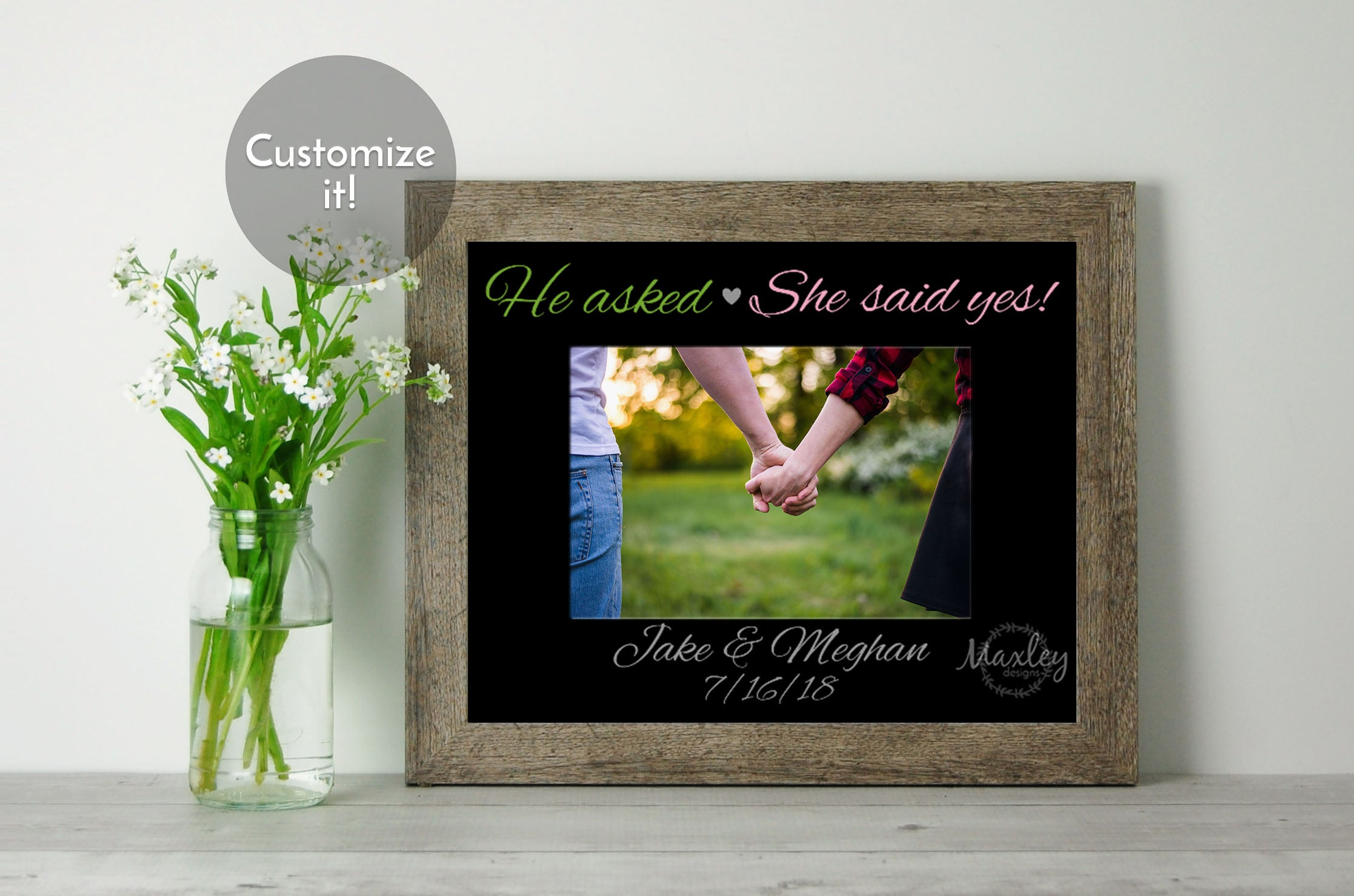 He Asked She Said Yes Engagement Or Wedding Date Black Photo Mat