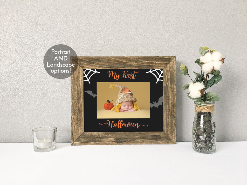 My First Halloween Photo Mat, Optional Rustic Wood Picture Frame, Farmhouse Decor, Halloween Decor, Baby's First Halloween