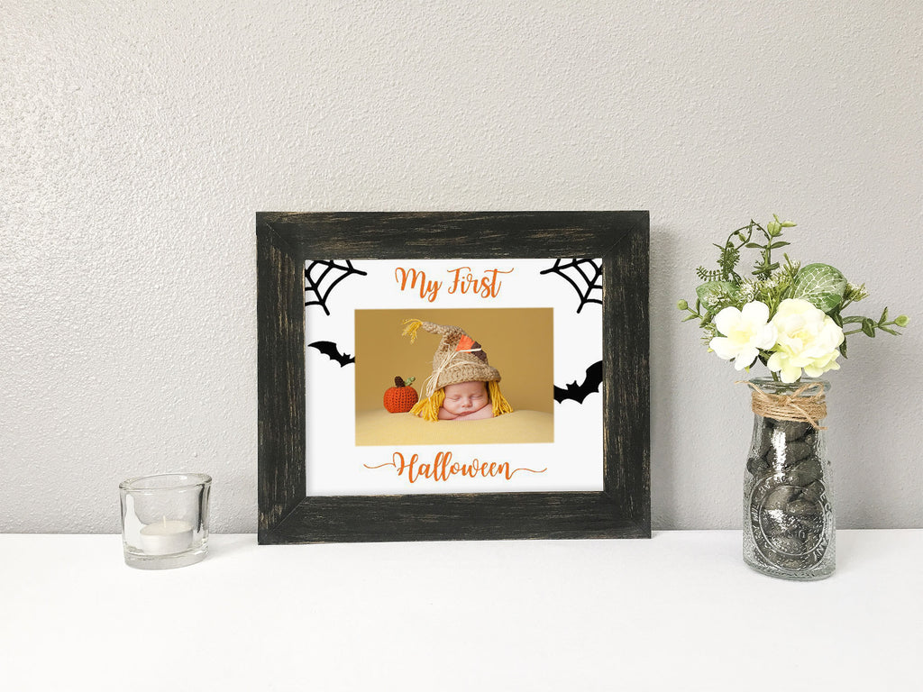 """My First Halloween"" with Spiderwebs and Bats, White Photo Mat"