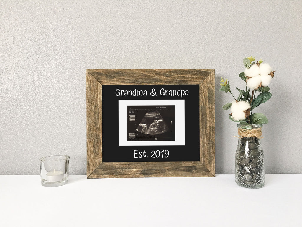 Pregnancy Announcement to Grandparents, Holds Ultrasound/Sonogram, Personalized Black Photo Mat
