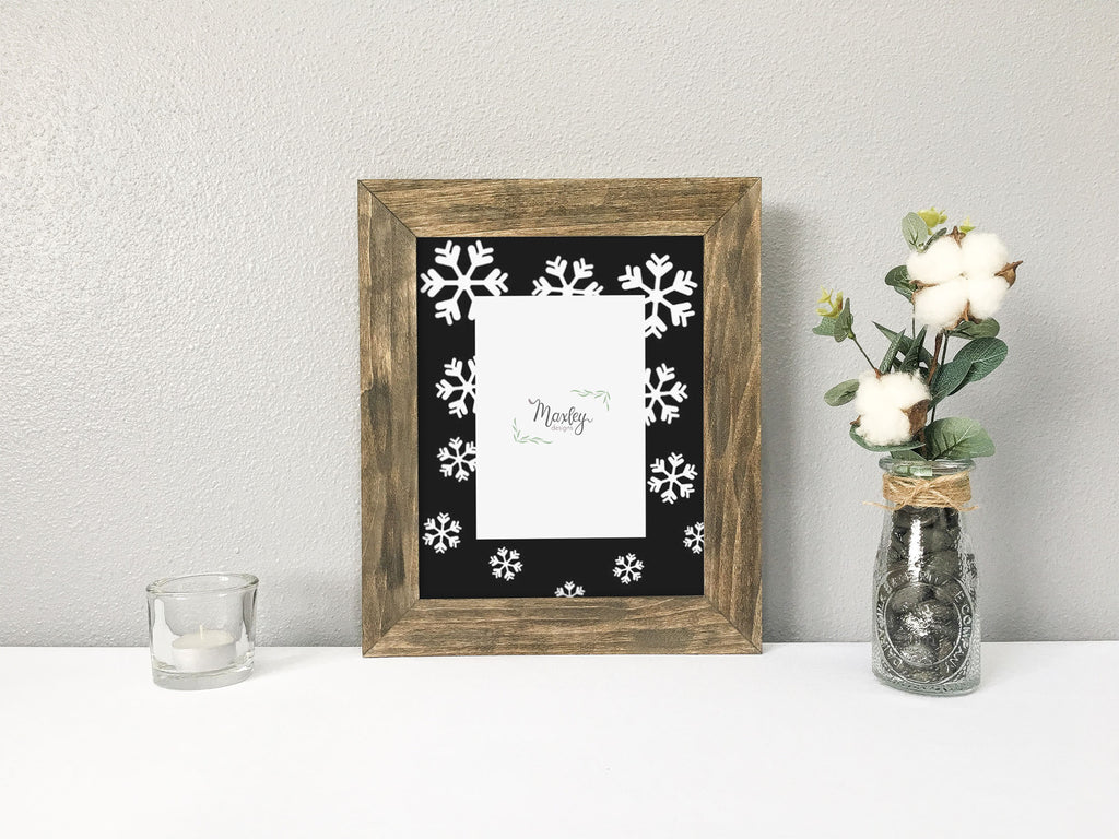 Falling Snowflakes, 8x10 Portrait, Black Christmas Photo Mat