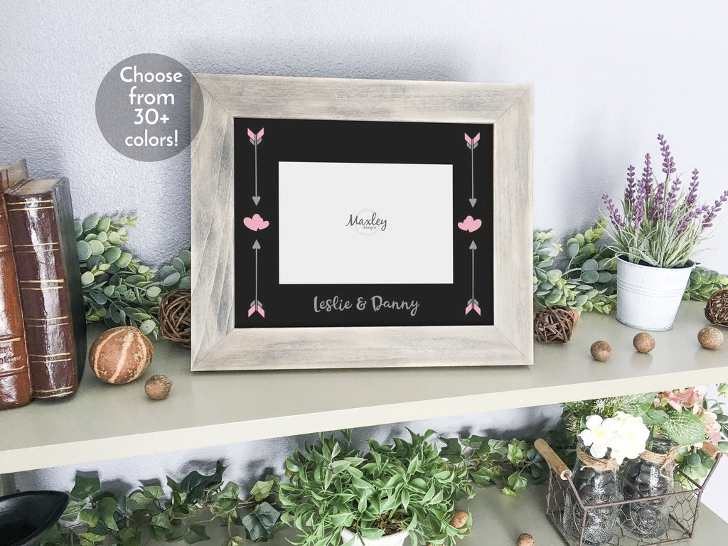 Valentines Day, Couples Names with Arrows and Hearts, Personalized Black Photo Mat