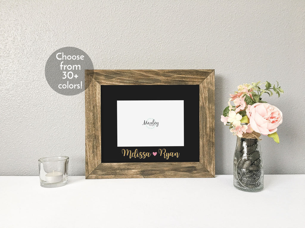 Valentines Day with Couples Names and Heart, Personalized Black Photo Mat