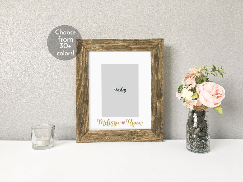 Valentines Day with Couples Names and Heart, Personalized White Photo Mat