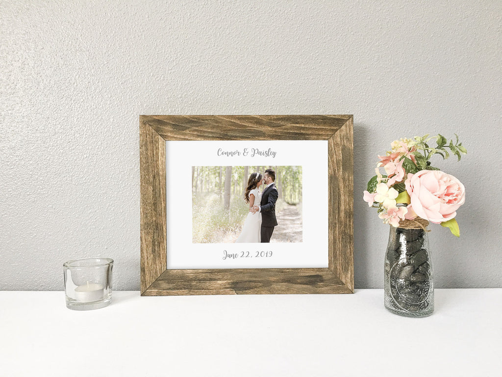 Bride and Groom's Names and Wedding Date, Gray Calligraphy, Personalized White Photo Mat