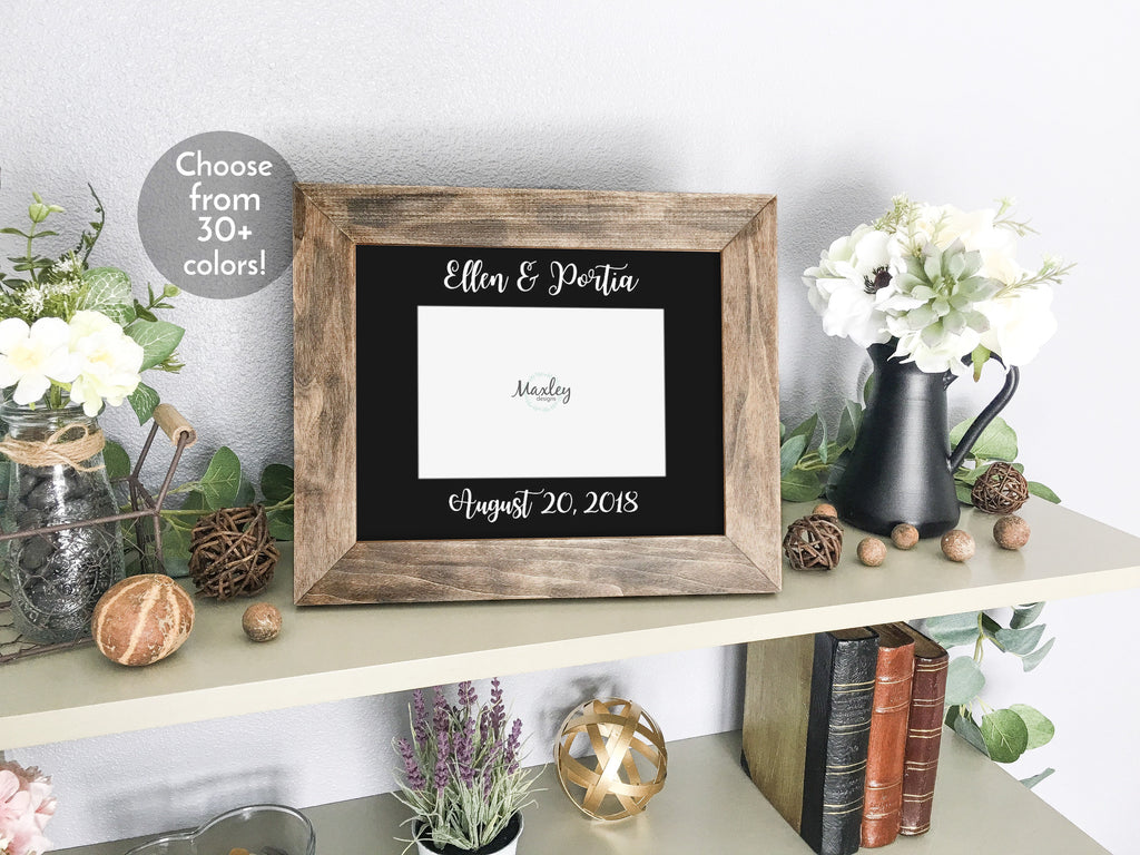Personalized Lesbian Brides' Names & Wedding Date, Black Photo Mat