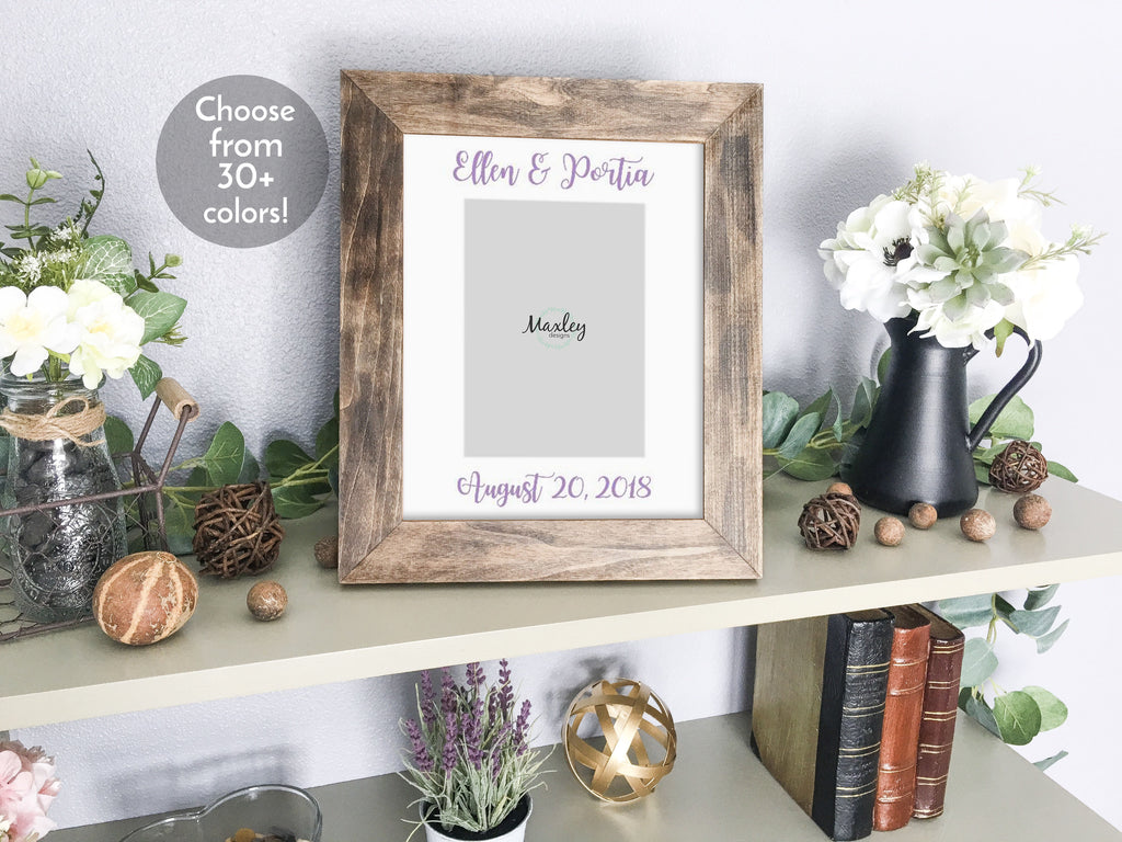 Personalized Lesbian Brides' Names & Wedding Date, White Photo Mat