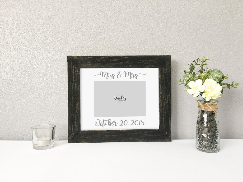 """Mrs & Mrs"" Personalized Lesbian Wedding Date, White Photo Mat"