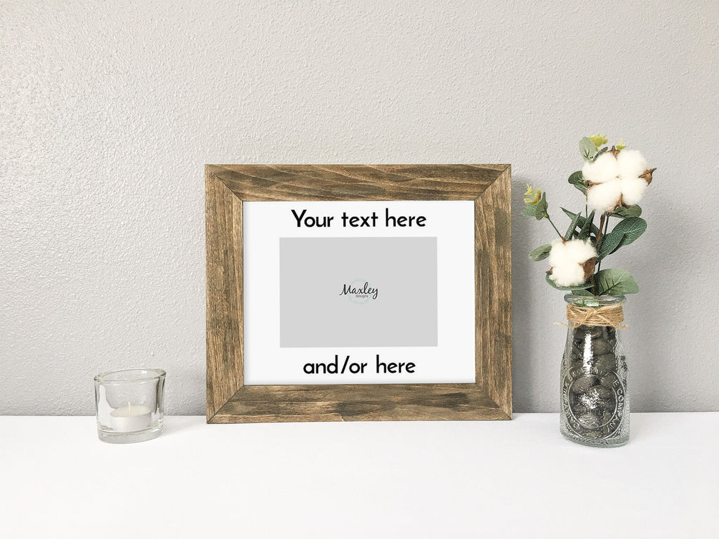Your Text Here Personalized Custom Photo Mat with Barnwood Finish Wood Picture Frame, 5 Font Options, Choose Your Text, Rustic Picture Frame, Personalized Picture Frame, Customizable Font Picture Frame