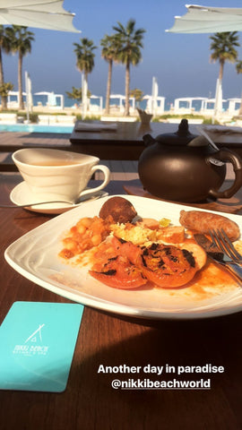 This is a picture of my breakfast at the pool at Nikki Beach Resort & Spa in Dubai, United Arab Emirates