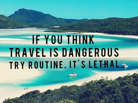 "Picture of the quote ""If you think travel is dangerous, you should try routine. It's lethal."""