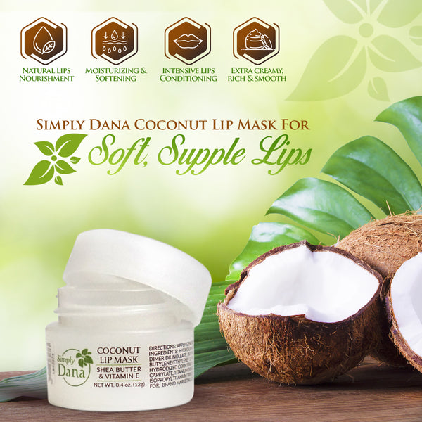 Simply Dana Coconut Lip Mask, Rejuvenate and Revitalize Dry Lips, 0.4 oz (12g)