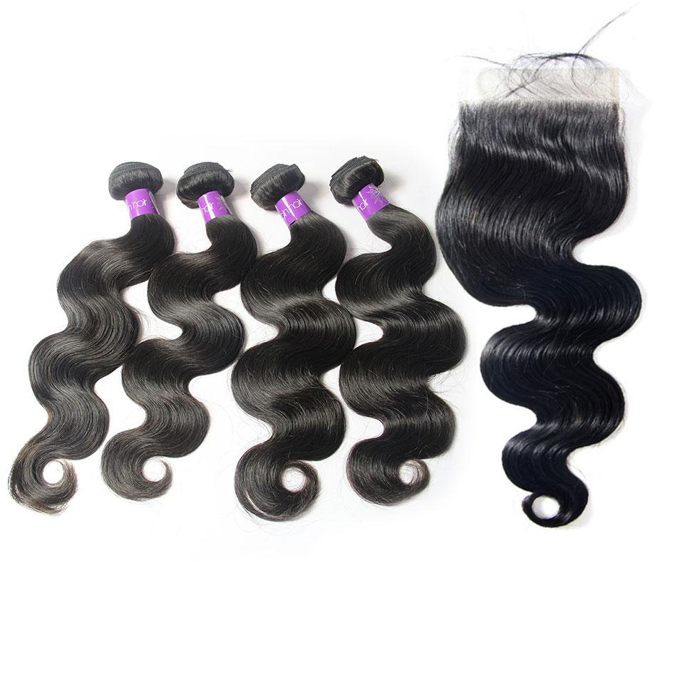 wholesale peruvian body wave lace closure with 4 bundles vendors-Tenlon